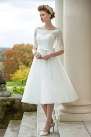 Rustic Half Sleeves Lace Tulle Tea Length A Line Wedding Dress
