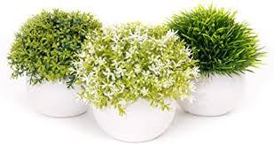 coradoma künstliche pflanzen im topf 3er set keramik deko pflanze kunstpflanze mit gras mini sukkulente blumen set klein kunstblumen für balkon büro