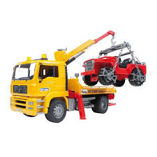 Bruder Toys MAN TGA Flatbed Tow Truck W/ Crane Cross Country Vehicle ...