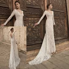 2015 Long Sleeve Sheath Wedding Dresses y V Neck Lace Bodycon