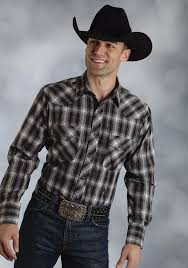 roper mens black downtown plaid with silver lurex long sleeve