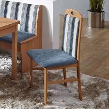 esszimmerstuhl sondres mit buche und stoff blau streifen