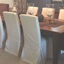 Custom Parsons Chair Slipcovers And Dining Table With Glass Candle Holders