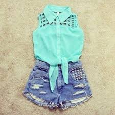 Shirt Sleeveless Denim Shorts Studs Collar Blouse T Mint High Waisted Short Clothes