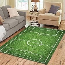 InterestPrint Natural Green Grass Soccer Field Area Rugs Carpet 7 X 5 Feet Sport Play
