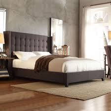Velvet Tufted Beds Trend Watch Hayneedle by Inspire Q Marion Dark Grey Linen Nailhead Wingback Tufted
