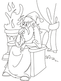 Thinking Wizard Coloring Page