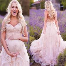 Discount Country Western Maternity Wedding Dresses With Flowers A Line Sweetheart Neckline Bohemian Style Rustic Blush Pink Plus Size Bridal Dress Tidebuy