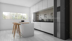 Modern White Kitchen Interior 3d Rendering Stockfoto Und 3d Rendering White Minimal And Modern Kitchen