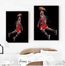 abstrakte kunst malerei michael poster fliegen dunk basketball wand bilder für wohnzimmer dekoration schlafzimmer sport leinwand