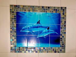 dolphin and whale bathroom tile ideas dolphin dive tile mural