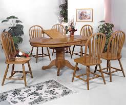 100 Oak Table 6 Chairs Crown Mark Windsor Solid 7 Piece Oval Dining And Side