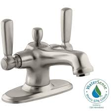 Brushed Nickel Bathroom Faucets Cleaning by Kohler Bancroft 4 In Centerset 2 Handle Low Arc Bathroom Faucet