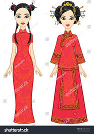two animation chinese girls traditional clothes stock vector