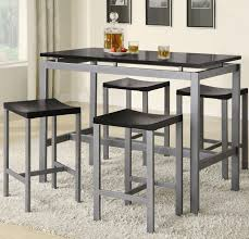 5 Piece Counter Height Dining Room Sets by Coaster Atlus Counter Height Contemporary Silver Metal Table With