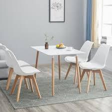 hj wedoo esstisch mit 4 weiß stühlen esszimmer essgruppe runde 110x70x73cm tisch