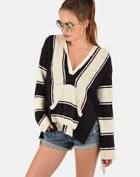 pam and gela striped baja sweater in black cream sale item final