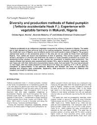 Types Of Pumpkins Grown In Uganda by Diversity And Production Methods Of Fluted Pumpkin Telfairia