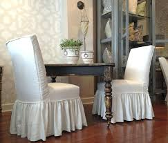 White Dining Chair Cover Farmhouse Table And Parsons Chairs With Full Ruffle Skirts Cotton Room Covers