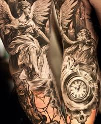 Guys Half Guardian In Black Angel Tattoo Sleeve Designs Fresh On