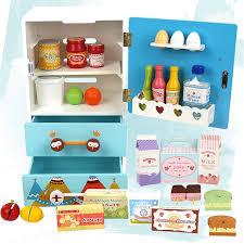 jeu cuisine en bois enfants cadeau artificielle réfrigérateur éducatif jouer