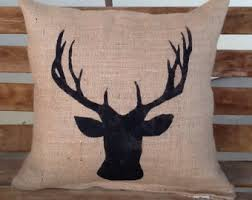 Burlap Deer Pillow Lodge Decor Rustic Throw Accent