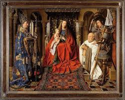 Jan Van Eyck The Virgin And Child With Canon Der Paele Oil On Wood 141 X 1765 Cm Including Frame 1434 36 Groeningemuseum Bruges