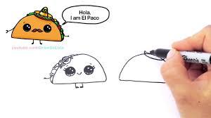 How to Draw Cartoon Tacos Cute step by step Easy Cute Cartoon Food