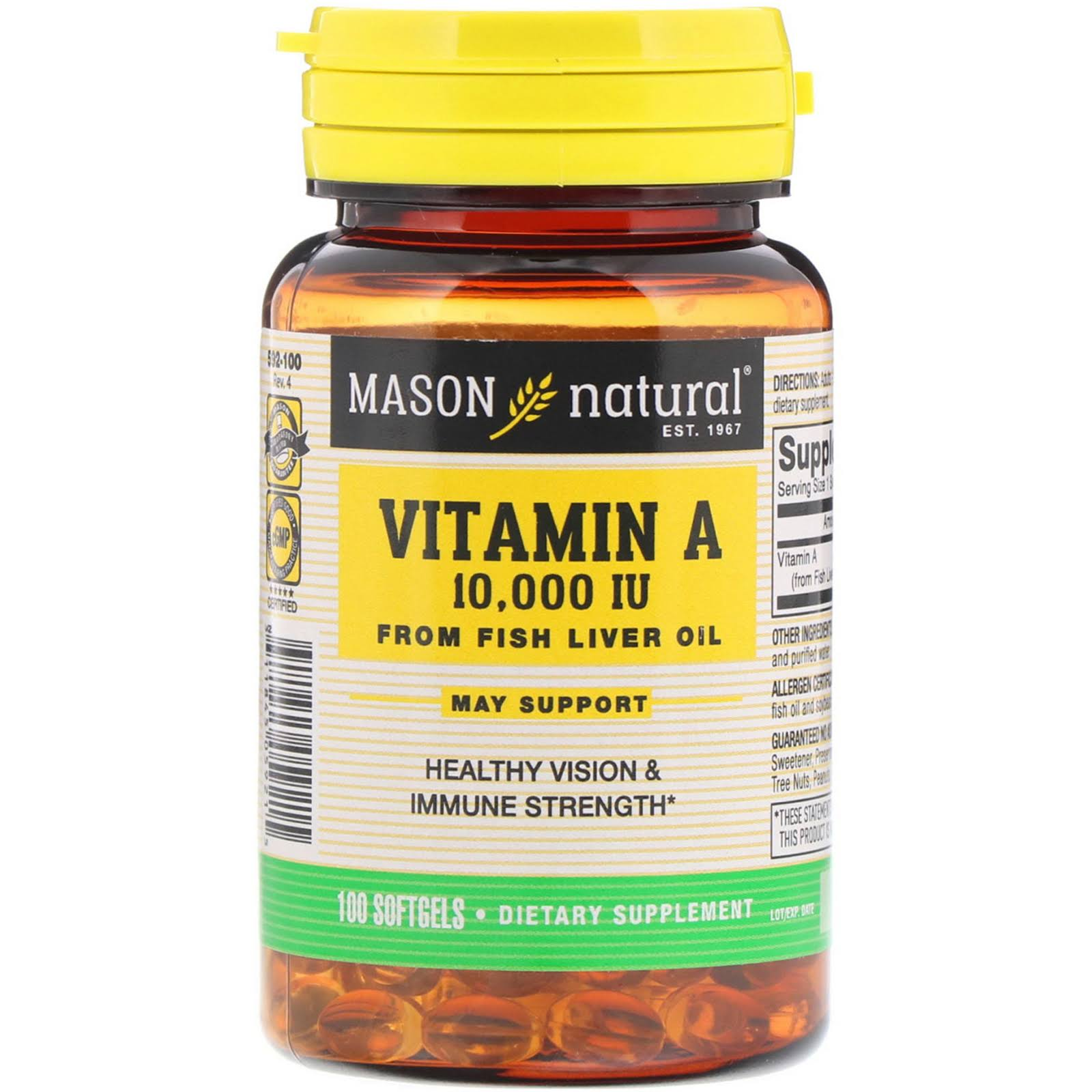 Mason Natural Vitamin A-10,000 IU Dietary Supplement - From Fish Liver Oil, 100softgels