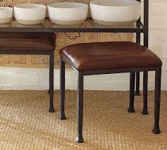 Tanner Leather Stool Bronze finish