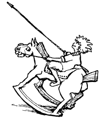 Boy Riding Rocking Horse Pretending He Is A Knight Soldier Coloring Page