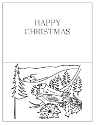 Christmas Cards Birds Coloring Page