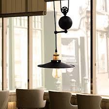 GTM Metal Pendant Lighting Industrial Vintage Adjustable Lights Fixtures Retractable Ceiling Lamp Dining Room