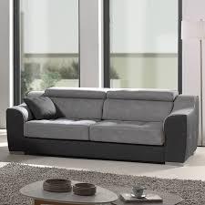 canape 3 places gris en tissu sofamobili