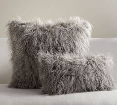 Mongolian Faux Fur Pillow Cover Frost Gray