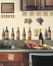 WINE TASTING WALL DECALS Grapes Bottles NEW Stickers Kitchen Decor Decorations