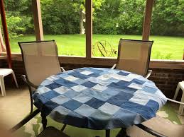 Fitted Round Outdoor Tablecloth With Umbrella Hole by Make Your Own Outdoor Tablecloth And Placemats Youtube Round Patio