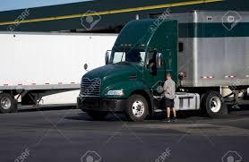100 Green Trucks Truck Driver Opening Door Of Dark Big Rig Day Cab Semi Stock