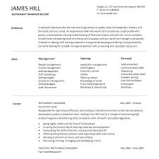 Fast Food Crew Member Resume Templates Examples Sample For Restaurant Manager