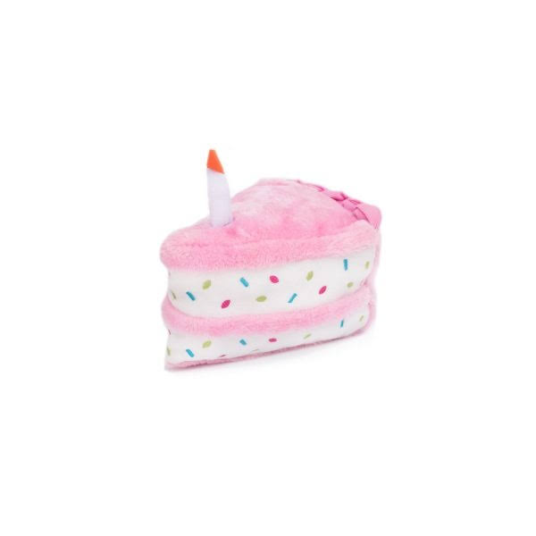 ZippyPaws Birthday Cake Plush Dog Toy - Pink
