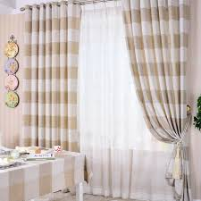 Yellow And White Striped Curtains by Khaki Striped Eco Friendly Cotton And Linen Bedroom Curtains