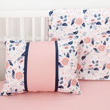 Coral And Navy Baby Bedding by Coral And Navy Crib Rail Cover Set Baby Bedding Floral
