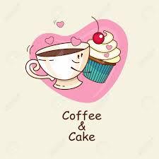 kaffee und kuchen auf dem hintergrund herz die liebe für immer kaffee und kuchen umarmung comic vektor illustration