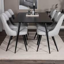 essgruppe bhatari mit 6 stühlen 17 stories farbe tischplatte schwarz farbe stuhl grau