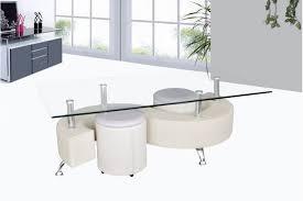 table basse avec poufs wendy verre et simili cuir noir blanc