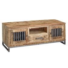 wohnling hifi lowboard 133 x 50 x 45 cm mango massivholz metall vintage tv kommode fernsehschrank mit 2 türen fernsehkommode mit schublade