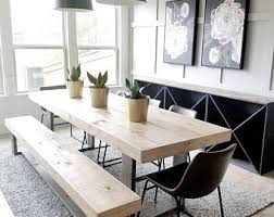 Made To Order Modern Rustic Farmhouse Dining Table And Bench Set Gray Natural Wood