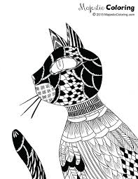 Free Adult Coloring Page Cat 1