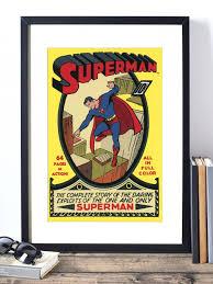 Vintage Superhero Wall Decor by Wall Arts Dc Comics Wall Art Superman Wall Decor Superhero