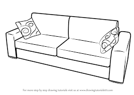 Learn How To Draw Sofa With Cushions Furniture Step By Drawing Tutorials